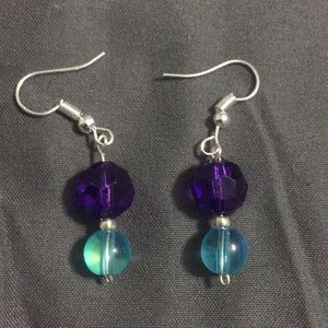 Handcrafted Purple and Blue Earrings